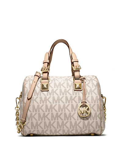 Medium Grayson Logo Monogram  Satchel, Vanilla